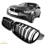Решетки радиатора ноздри BMW F30 F31 горбатые сдвоенные M3 стиль черные глянцевые GCP-033001