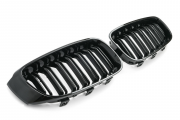 Решетки радиатора (ноздри) BMW F34 GT горбатые M3 стиль черные глянцевые GCP-033401