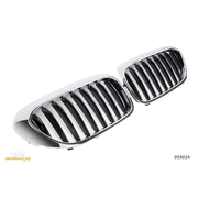 Решетки радиатора (ноздри) BMW G30 G31 горбатые M5 стиль черные глянцевые с хромом GCP-053024