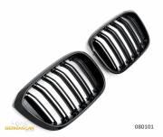 Решетки радиатора ноздри BMW X3 G01, X4 G02 горбатые X3M X4M стиль сдвоенные черные глянцевые GCP-080101