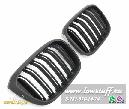 Решетки радиатора ноздри BMW X3 G01, X4 G02 горбатые X3M X4M стиль сдвоенные черные матовые GCP-080102