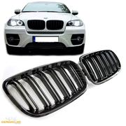 Решетки радиатора (ноздри) BMW X5 / X6 E70 E71 горбатые сдвоенные M стиль черные глянцевые GCP-085701