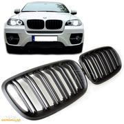 Решетки радиатора (ноздри) BMW X5 / X6 E70 E71 горбатые сдвоенные M стиль FLAT BLACK GCP-085702