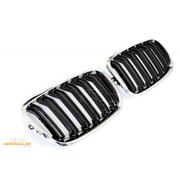 Решетки радиатора (ноздри) BMW X5 / X6 E70 E71 горбатые сдвоенные M стиль черные глянцевые GCP-085704