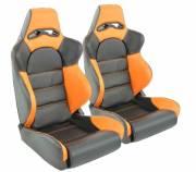Сиденья автомобильные полуковши черные с оранжевыми вставками искусственная кожа FK Automotive DP003
