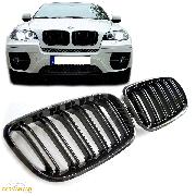 Решетки радиатора (ноздри) BMW X5 E70 X6 E71 горбатые сдвоенные X5M X6M стиль черные глянцевые GCP-087001